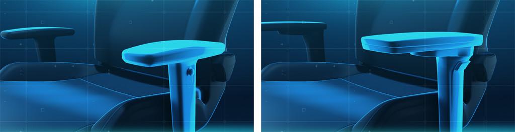 Die 4D- und 5D-Armlehnen der RECARO Exo-Gaming-Seats-Varianten gegenübergestellt.