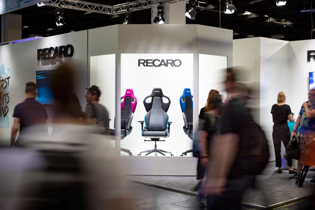 Der Stand von RECARO auf der Gamescom 2018. Im Fokus stand unser brandneuer RECARO Exo Gaming Seat.