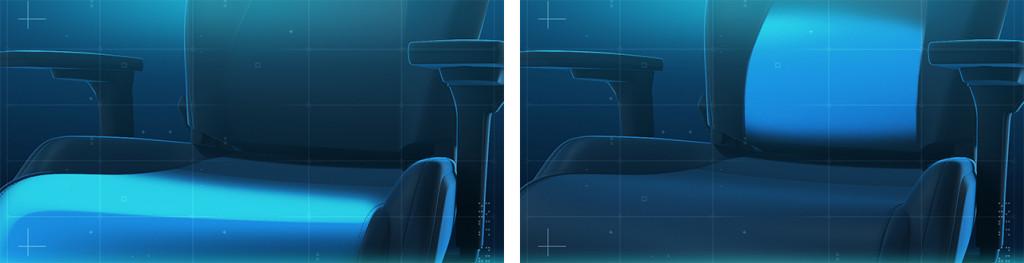 EXO Gaming Seat: Darstellung der Lordosenstütze und des Anti-Submarining-Hügels