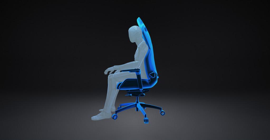 """Darstellung der """"Attack""""-Position auf dem RECARO Exo Gaming Sitz."""