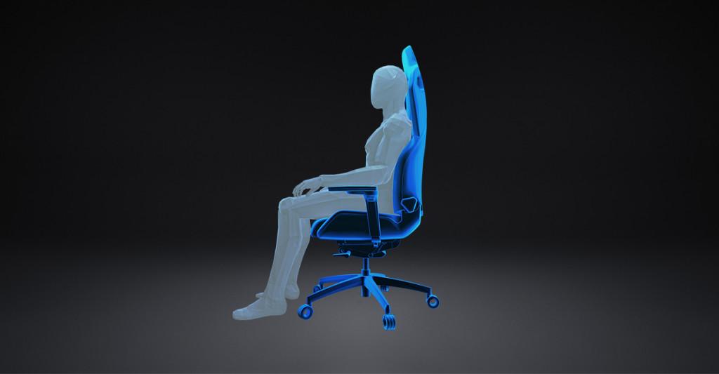 """Darstellung der """"Core Focus""""-Position beim RECARO Exo Gaming Sitz."""