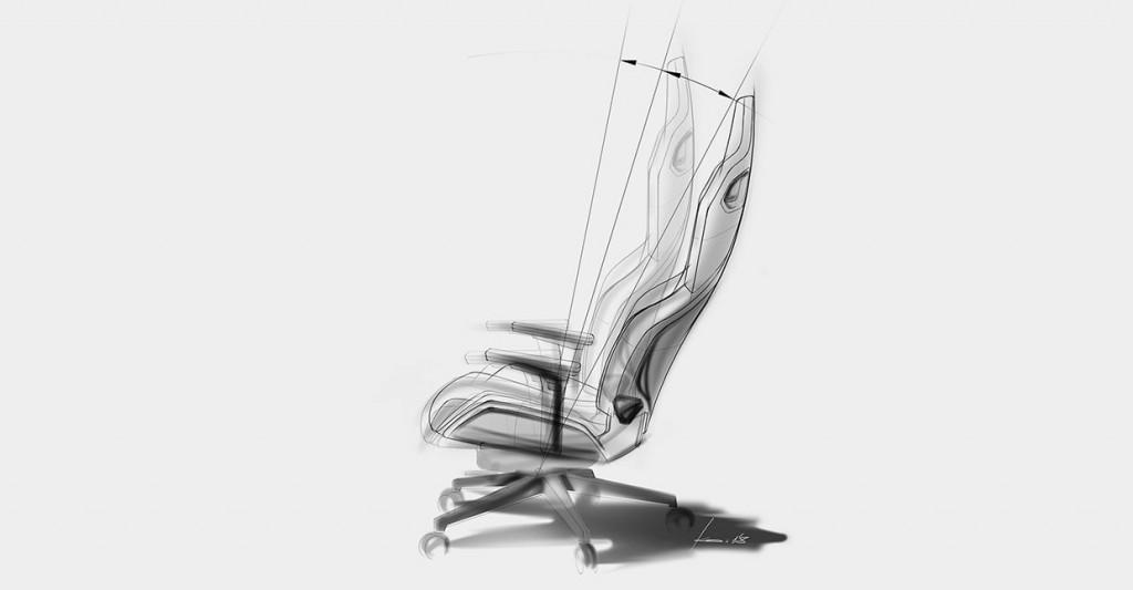 Zeichnung des RECARO EXO Gaming Seats